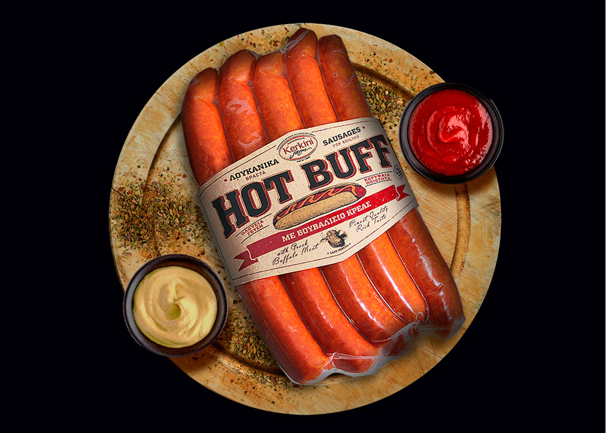 KERKINI FARM - Hot Buff Βραστά Λουκάνικα με Βουβαλίσιο Κρέας. Χωρίς Γλουτένη & Λακτόζη 300gr