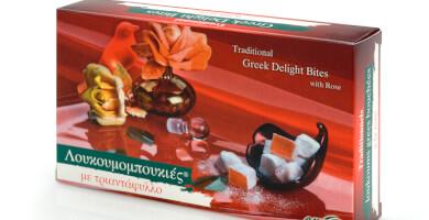 Λουκούμια Χίου τριαντάφυλλο σε χαρτ. κουτί 200g